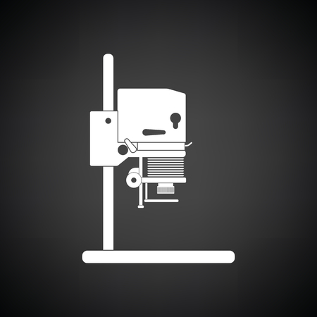 enlarger: Icon of photo enlarger. Black background with white. Vector illustration.