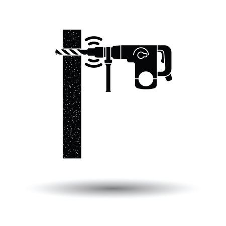 perforator: Icon of perforator drilling wall. White background with shadow design. Vector illustration. Illustration