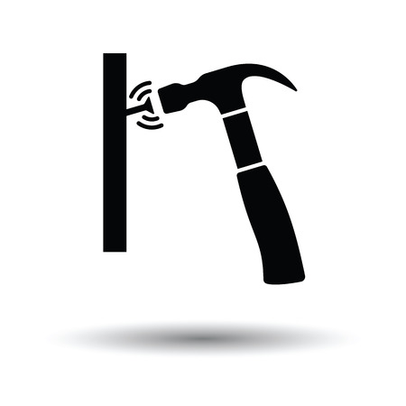 Icon of hammer beat to nail. White background with shadow design. Vector illustration. Illustration