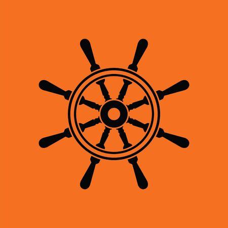 ruder: Icon of steering wheel Orange background with black. Vector illustration. Illustration
