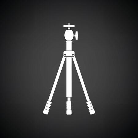 Icon of photo tripod. Black background with white. Vector illustration. Illustration