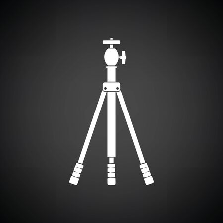 alone person: Icon of photo tripod. Black background with white. Vector illustration. Illustration