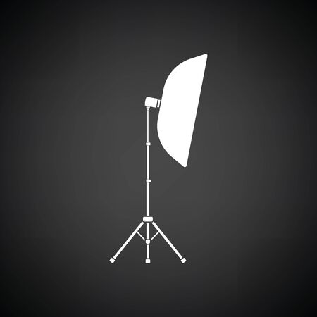 Icon of softbox light. Black background with white. Vector illustration.