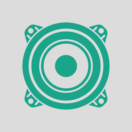 Loudspeaker  icon. Gray background with green. Vector illustration.