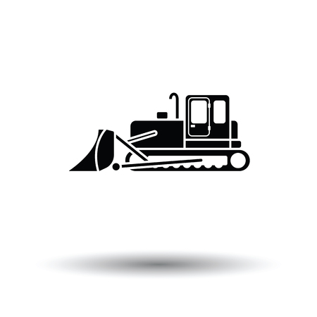 wheeled tractor: Icon of Construction bulldozer. White background with shadow design. Vector illustration. Illustration