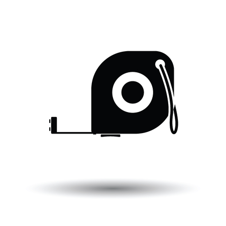gauging: Icon of constriction tape measure. White background with shadow design. Vector illustration.