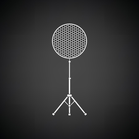 Icon of beauty dish flash. Black background with white. Vector illustration.