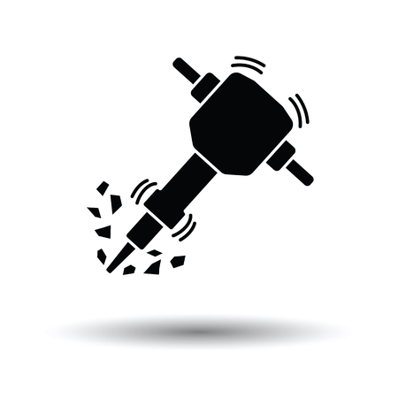 breaker: Icon of Construction jackhammer. White background with shadow design. Vector illustration.