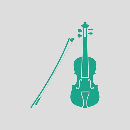 winds: Violin icon. Gray background with green. Vector illustration.