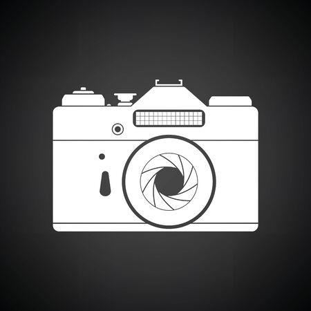 film title: Icon of retro film photo camera. Black background with white. Vector illustration.