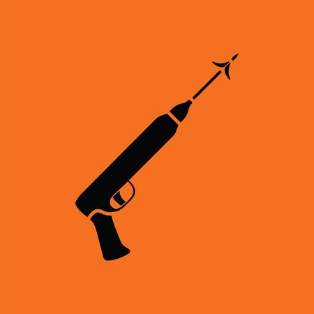 Icon of Fishing speargun Orange background with black. Vector illustration. Illustration