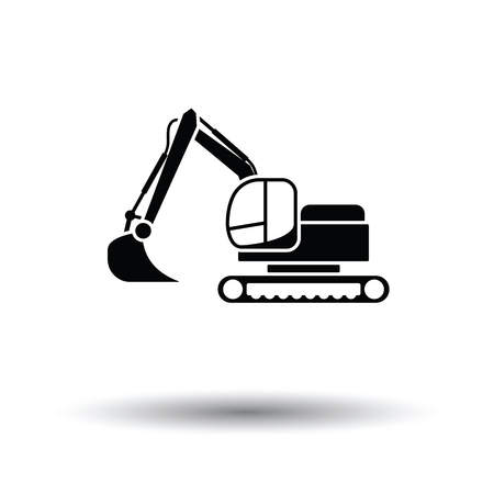 wheel loader: Icon of construction excavator. White background with shadow design. Vector illustration. Illustration