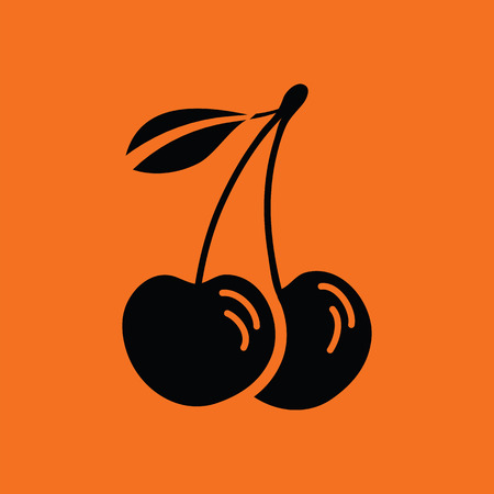 drupe: Cherry icon. Orange background with black. Vector illustration.