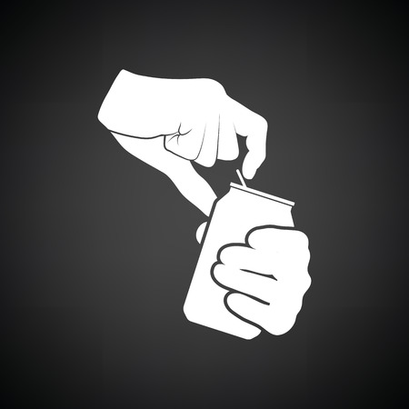 aluminum background: Human hands opening aluminum can icon. Black background with white. Vector illustration.