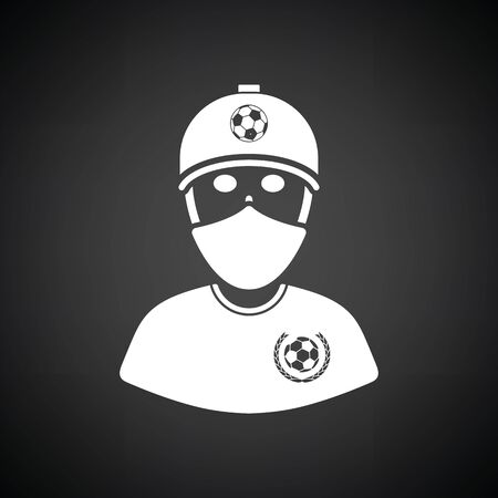 Football fan with covered  face by scarf icon. Black background with white. Vector illustration. Illustration