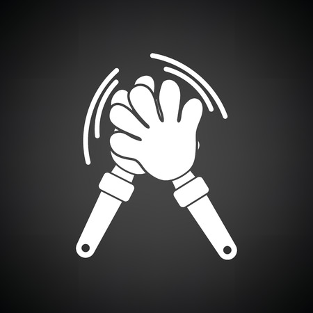 Football fans clap hand toy icon. Black background with white. Vector illustration.