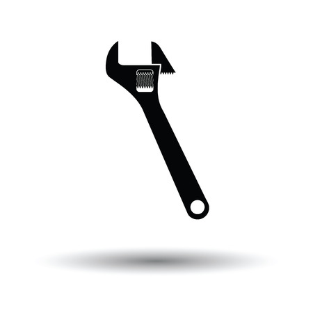 adjustable: Adjustable wrench  icon. White background with shadow design. Vector illustration.