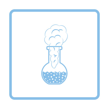 transpiration: Icon of chemistry bulb with reaction inside. White background with shadow design. Vector illustration.