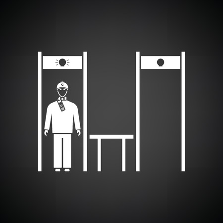 inspecting: Stadium metal detector frame with inspecting fan icon. Black background with white. Vector illustration.