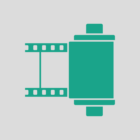 35 mm: Photo cartridge reel icon. Gray background with green. Vector illustration.