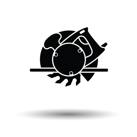handtool: Circular saw icon. White background with shadow design. Vector illustration.