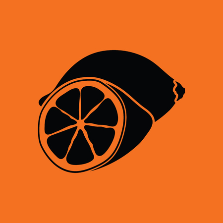 citrous: Lemon icon. Orange background with black. Vector illustration.