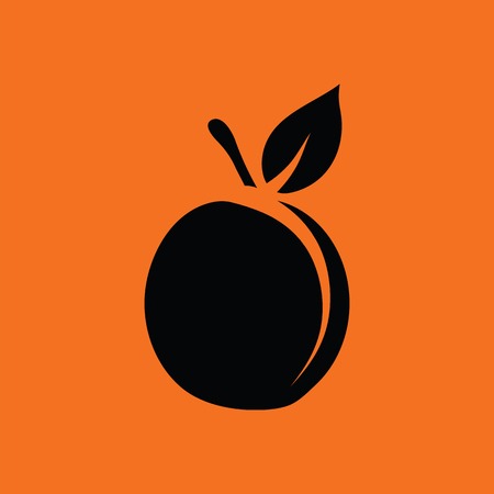 drupe: Peach icon. Orange background with black. Vector illustration.
