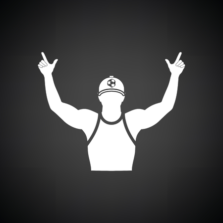 Football fan with hands up icon. Black background with white. Vector illustration.