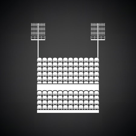 outdoor seating: Stadium tribune with seats and light mast icon. Black background with white. Vector illustration.