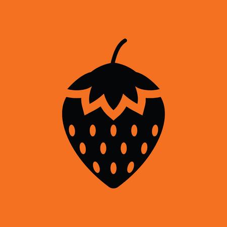 summer diet: Strawberry icon. Orange background with black. Vector illustration. Illustration