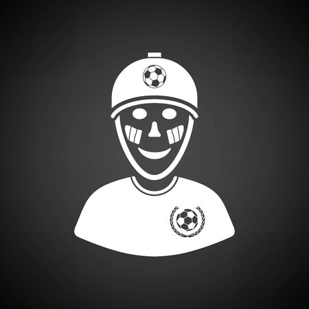painted face: Football fan with painted face by italian flags icon. Black background with white. Vector illustration.