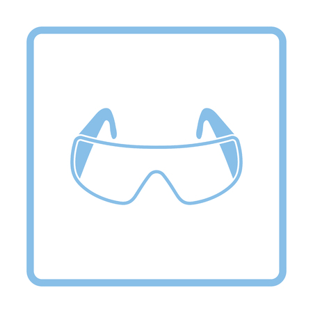 protective eyewear: Icon of chemistry protective eyewear. White background with shadow design. Vector illustration.