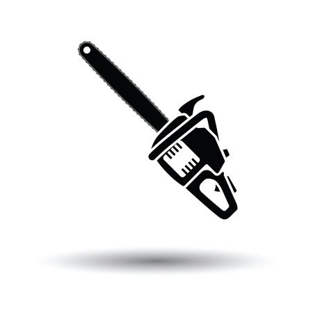 Chain saw icon. White background with shadow design. Vector illustration.
