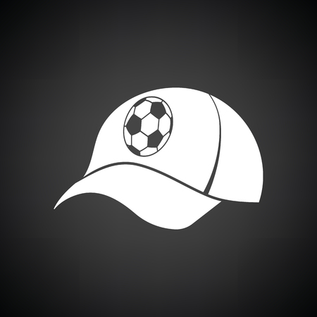 Football fans cap icon. Black background with white. Vector illustration.