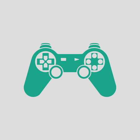 gamepad: Gamepad  icon. Gray background with green. Vector illustration.