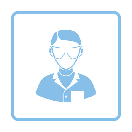 Icon of chemist in eyewear. White background with shadow design. Vector illustration.