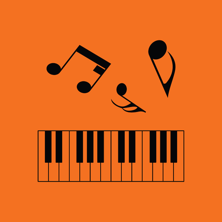Piano keyboard icon. Orange background with black. Vector illustration.