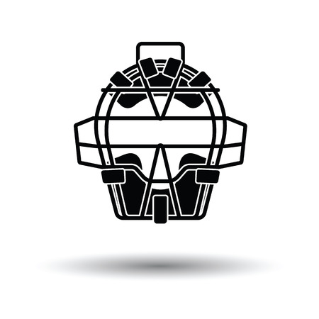 Baseball face protector icon. White background with shadow design. Vector illustration. Illustration