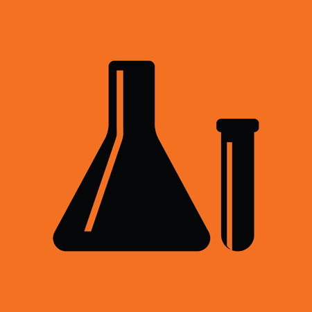 medical exam: Chemical bulbs icon. Orange background with black. Vector illustration. Illustration