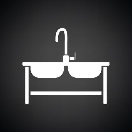 double tap: Double sink icon. Black background with white. Vector illustration. Illustration