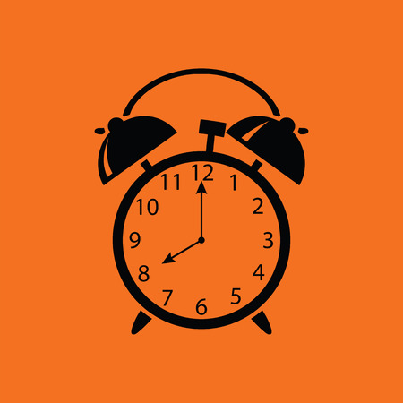 Alarm clock icon. Orange background with black. Vector illustration.