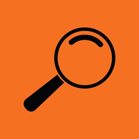 Loupe icon. Orange background with black. Vector illustration.