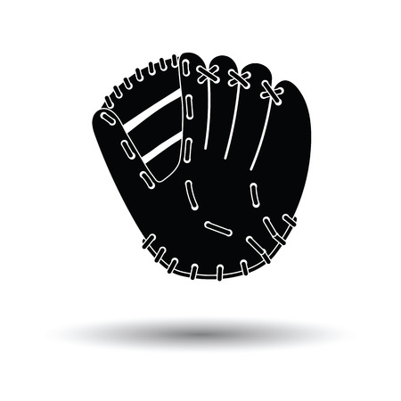 Baseball glove icon. White background with shadow design. Vector illustration.