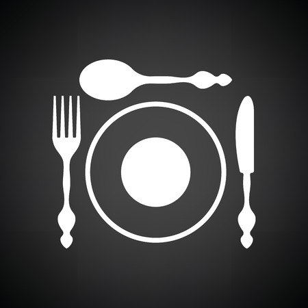 Silverware and plate icon . Black background with white. Vector illustration.