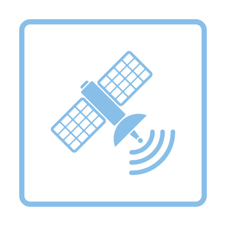 telecommunications technology: Satellite icon. Blue frame design. Vector illustration.