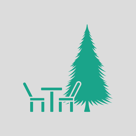 Park seat and pine tree icon. Gray background with green. Vector illustration. Illustration