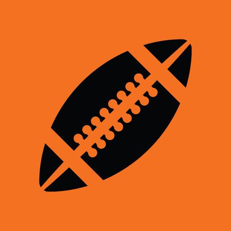 black american: American football icon. Orange background with black. Vector illustration.