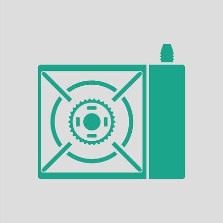 travel burner: Camping gas burner stove icon. Gray background with green. Vector illustration. Illustration