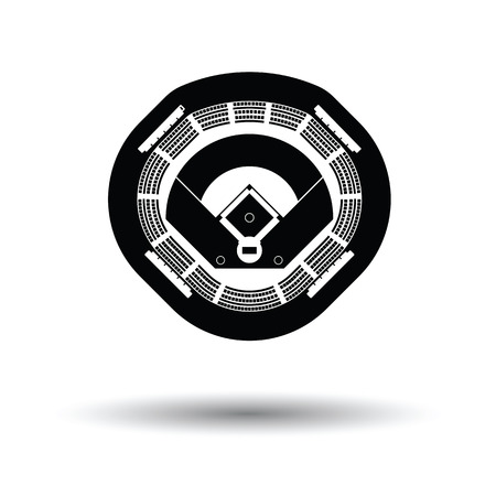 ballpark: Baseball stadium icon. White background with shadow design. Vector illustration.