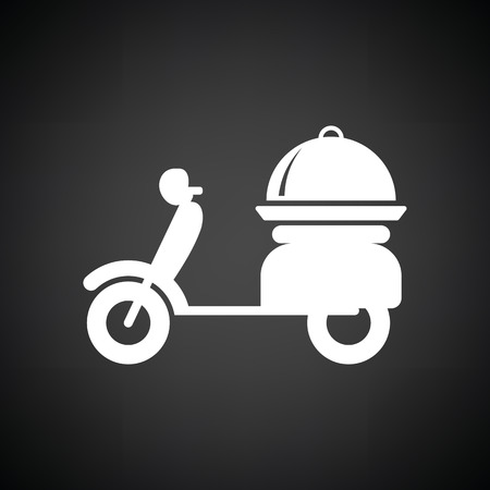 moped: Delivering motorcycle icon. Black background with white. Vector illustration. Illustration